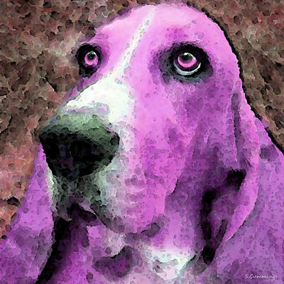 Basset Hound - Pop Art Pink Print by Sharon Cummings