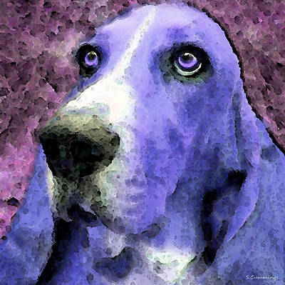 Basset Painting - Basset Hound - Pop Art Purple by Sharon Cummings