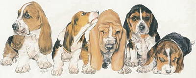 Puppy Mixed Media - Basset Hound Puppies by Barbara Keith