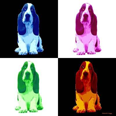 Digital Art - Basset Hound Puppy 4 Colors by Gabriel T Toro