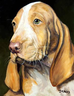 Basset Hound Painting - Basset Hound Puppy by Dottie Dracos