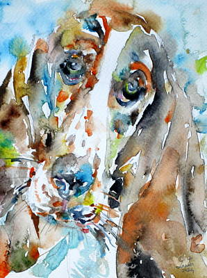 Painting - Basset Hound - Watercolor Portrait.1 by Fabrizio Cassetta