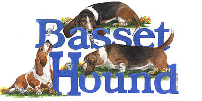 Painting - Basset Hounds by Terry Albert