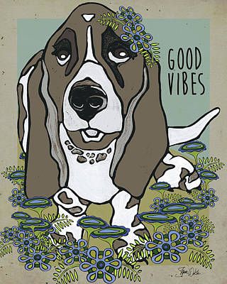 Basset Hound Painting - Basset In The Garden by Shanni Welsh