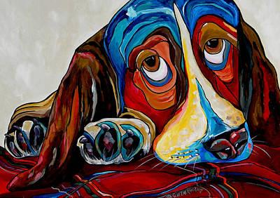 Bassett Has The Blues Original by Patti Schermerhorn