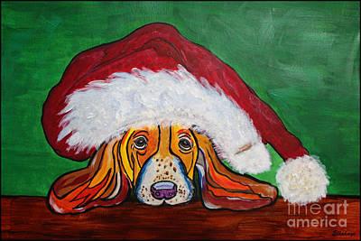Painting - Bassett Hound In Santas Hat - Puppy Mania by Ella Kaye Dickey