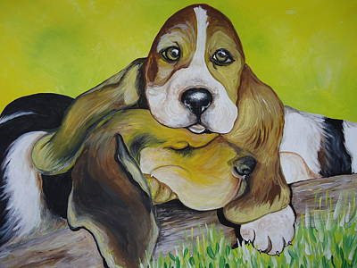 Painting - Bassett Hound Pups by Leslie Manley