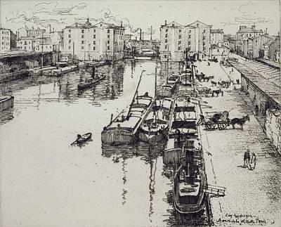 Quayside Painting - Bassin De La Villette, From Du Ier Au by Eugene Bejot