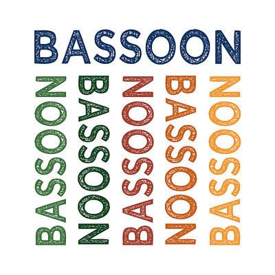 Playing Digital Art - Bassoon Cute Colorful by Flo Karp