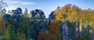 Bastei Bridge In The Elbe Sandstone Mountains Art Print