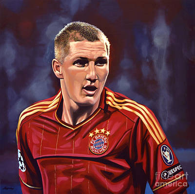 Shirt Painting - Bastian Schweinsteiger by Paul Meijering