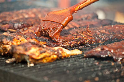 Photograph - Basting Tasty Ribs On The Barbeque. by Marek Poplawski