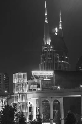 Photograph - Bat Bldg And Walking Bridge At Night by Robert Hebert