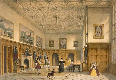 Playing Drawing - Bat Game In The Grand Hall, Parham by Joseph Nash