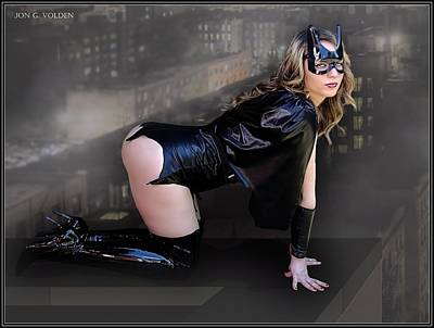 Photograph - A Bat Heroine On The Ledge by Jon Volden