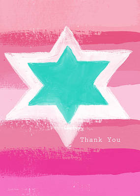 Painting - Bat Mitzvah Thank You Card by Linda Woods