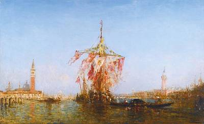 Bassin Painting - Bateau Pavoise Sur Le Bassin by Celestial Images