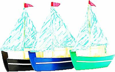 Toy Boat Mixed Media - Bateaux A Voiles by ABA Studio Designs