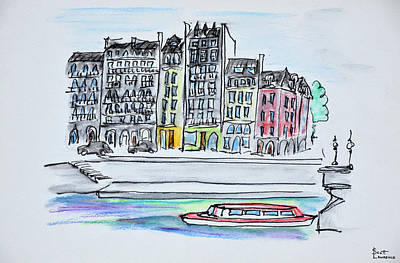 Pen And Ink Drawing Photograph - Bateaux Mouche Boat Travels by Richard Lawrence
