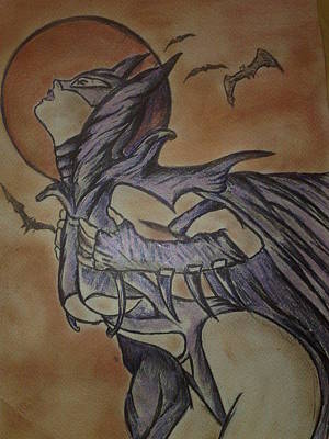 Batgirl Drawing - Batgirl by Giuseppe Amodeo