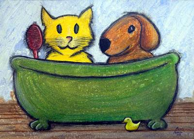 Art Print featuring the mixed media Bath Friends by Kenny Henson