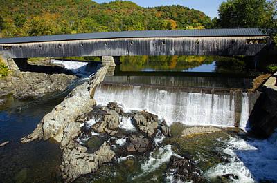 Bath Haverhill Covered Bridge In Autumn Art Print
