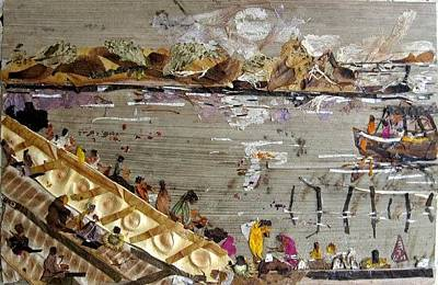 River Scenes Mixed Media - Bath In River by Basant Soni
