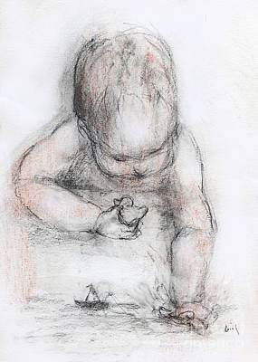 Toy Boat Mixed Media - Bath Time by Cecily Mitchell