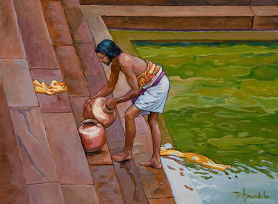 Fine Art India Painting - Bath Time In South India by Dominique Amendola