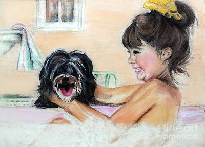 Water Dogs Mixed Media - Bath Time by Melanie Alcantara Correia