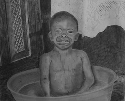 Bath-time Tears Art Print