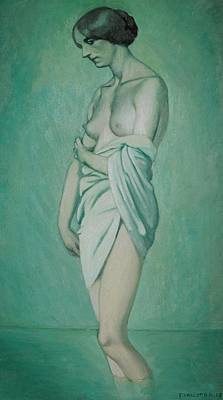 Bather In Profile Effect Of Green And Pink Art Print