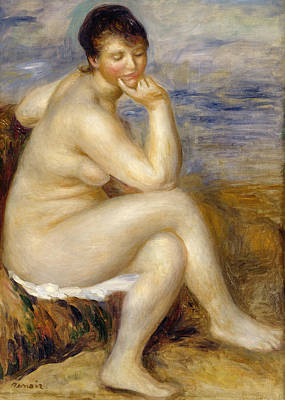 Erotica Painting - Bather Seated On A Rock by Pierre Auguste Renoir