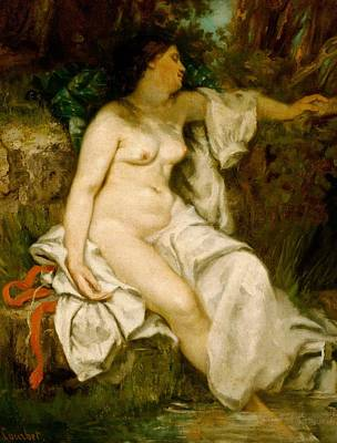 Bather Sleeping By A Brook Print by Gustave Courbet