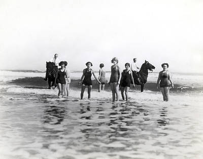 Medium Group Of People Photograph - Bathers And Horses In The Surf by Underwood & Underwood