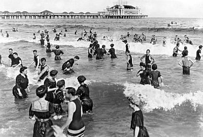 Bathing Photograph - Bathers At Atlantic City Baech by Underwood & Underwood