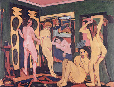 Frontal Nude Painting - Bathers In A Room by Ernst Ludwig Kirchner