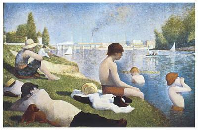 Bathing At Asnieres Art Print by George-Pierre Seurat