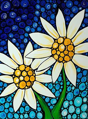 Yellow Daisy Wall Art - Painting - Bathing Beauties - Daisy Art By Sharon Cummings by Sharon Cummings