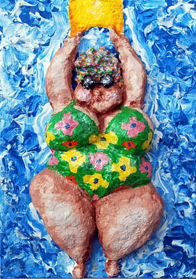 Chubbyart Relief - Bathing Beauty by Alison  Galvan