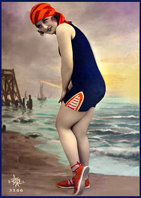Bathing Beauty In Orange And Navy Bathing Suit Art Print