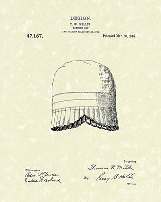Drawing - Bathing Cap 1915 Patent Art by Prior Art Design