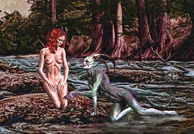 Bathe Digital Art - Bathing Deities by K I M