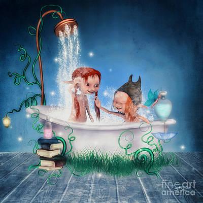 Digital Art - Bathing Fun by Jutta Maria Pusl