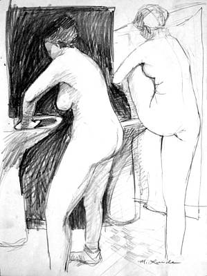 Drawing - Bathing In A Sink by Mark Lunde