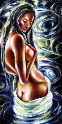 Asian Nude Painting - Bathing In Moon Light by Hiroko Sakai