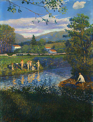 Beautiful Creek Painting - Bathing In Renteria by Mountain Dreams