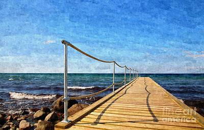 Scandinavian Painting - Bathing Jetty To The Ocean by Niels Quist