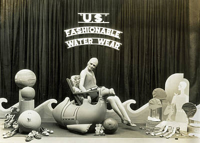 Display Window Photograph - Bathing Suits Store Display by Underwood Archives
