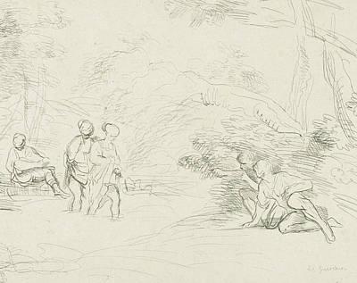 Ligne Drawing - Bathing Women By Men Spied, Print Maker Charles Joseph by Charles Joseph Emmanuel De Ligne And Guercino